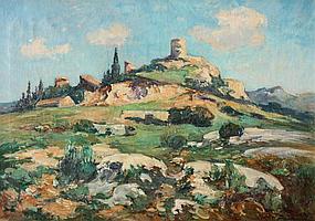 Marcel PARTURIER (1901-1976) Eygalières Huile sur toile. Signé en bas à droite. Signé et titré au dos. 46 x 65 cm
