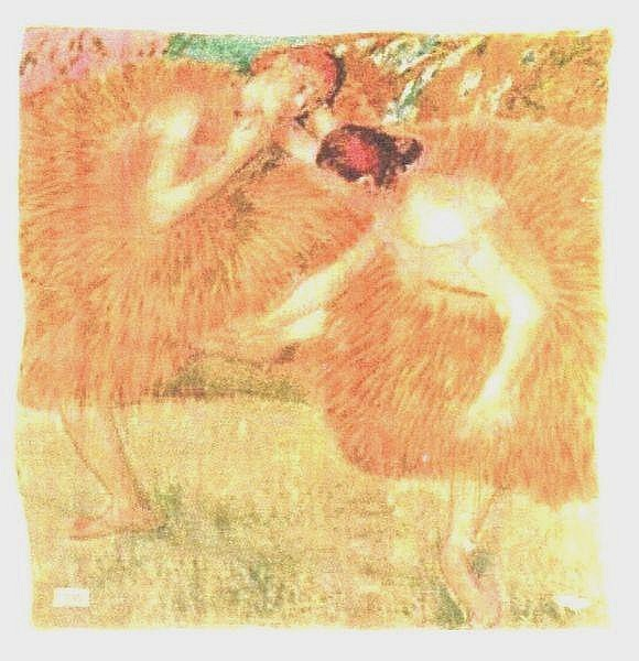 Edgar DEGAS (1834-1917), d'après  Deux danseuses  Foulard en soie imprimé  en quatorze couleurs, rouloté main  HOREV Paris Editeur  90 x 90 cm