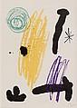 Joan MIRO (1893-1983)   Composition.   Lithographie en couleurs sur papier.  Monogrammé en bas à droite. Numéroté 67/100 à gauche.  30 X 21 cm