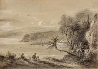 Jules DEFER (1803-1902), attribué à Vue du port de Nice au loin Mine de plomb, lavis et rehauts de gouache sur papier 9 x 13 cm