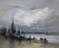 Jean-Michel NOQUET (1950) Scène de plage