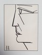 Bernard BUFFET (1928-1999)  Profil  Lithographie en noir sur papier. Monogrammé en bas à gauche (planche).  31 x 23 cm