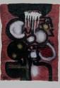 Ladislas KIJNO  Composition abstraite  Lithographie en couleurs sur papier froissé contrecollé sur papier fort. Signé en bas à droite. Numéroté 71/75 en bas à gauche.   80 x 56 cm