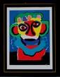 Karel APPEL   Buste de personnages  lithographie en couleurs sur papier. Signé en bas à droite. Numéroté 71/100 en bas à gauche  80 x 59 cm