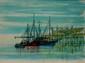 Jean CARZOU (1907-2000)   Navires à quai - 1958  Lithographie en couleurs sur papier. Signé et daté en bas à droite.   48 x 63 cm