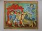 Sakti BURMAN ( 1935 )   Scène de genre en Inde  Lithographie en couleurs sur papier. Signé en bas à droite. Justifié E.A en bas à gauche  55 x 67 cm