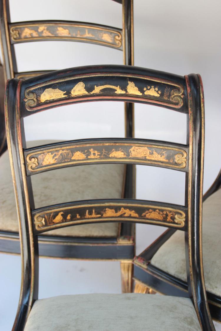 S rie de six chaises en bois laqu noir d cor l or de ch - Chaise en bois noir ...