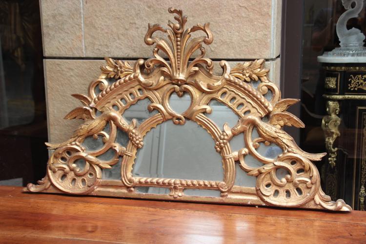 Fronton de miroir en bois ajour sculpt et dor xviii me s - Miroir ancien bois dore ...