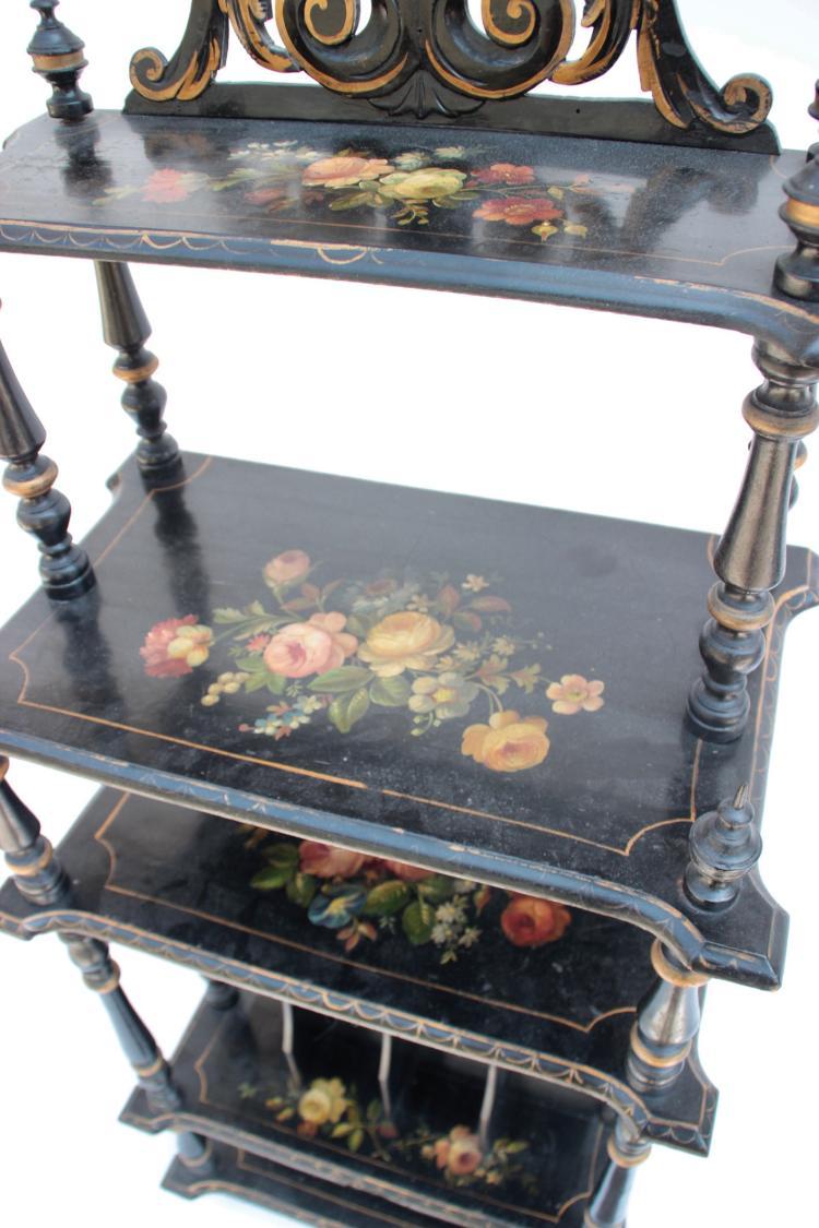 etag re musique et bois noirci d cor floral polychrome e. Black Bedroom Furniture Sets. Home Design Ideas