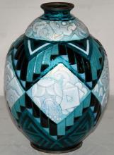 ea395d791d7 Camille FAURE (1874-1956) Vase en émaux translucides sur cuivre à décor  géométrique