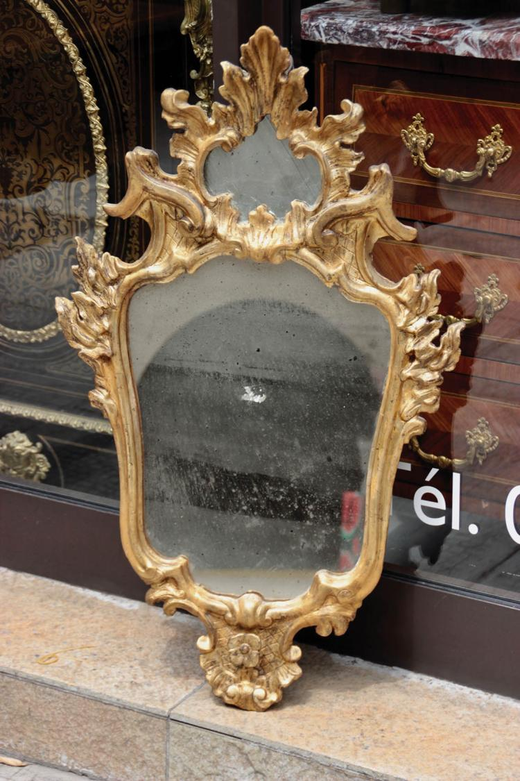 Miroir en bois sculpt et dor d cor de fleurette et rince - Miroir ancien bois dore ...