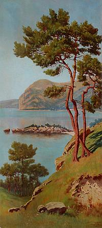 """Adelin Charles MOREL DE TANGUY (1857-1930) - Baie de Beaulieu lieu dit l' """"Isolette"""" - 1906 - Huile sur toile - Signé en bas à droite - 220 x 100 cm."""