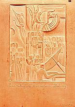 Jan & Joël MARTEL (1896-1966) - vers 1925  Rare bas relief en terre cuite à décor stylisé