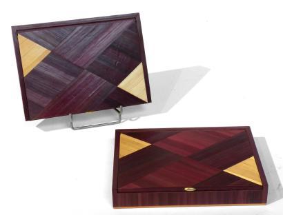 Daniel LANGLOIS BERTHELOT (1927)  Deux boites en marqueterie de paille brune et claire