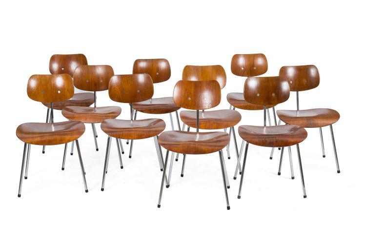 Egon EIERMANN (1904-1970) - WILDE & SPIETH  Suite de 10 chaises en placage de teck et acier chromé modèle SE68, 1951
