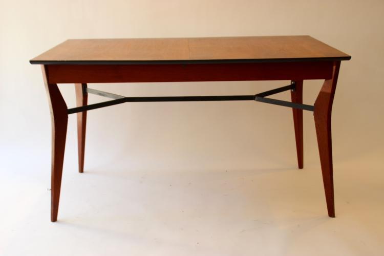 Travail fran ais vers 1955 table en bois de placage plate - Table haute noir laque ...