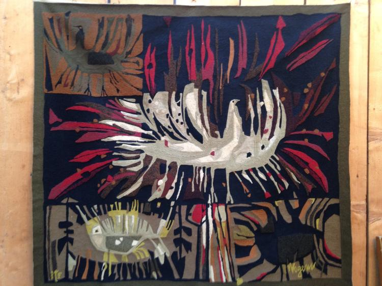 Robert WOGENSKY (1919) - vers 1955 - Tapisserie d'Ile de France Décor abstrait d'oiseaux stylisés et poissons