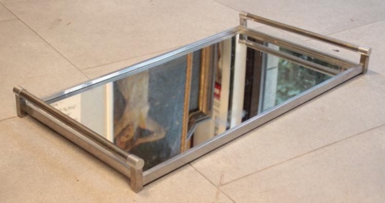 Jacques ADNET (1900-1984)  Plateau miroir moderniste de forme rectangulaire