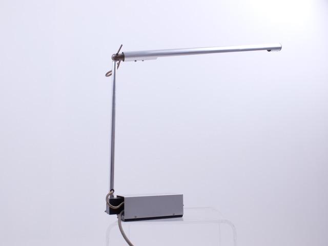 Gerald ABRAMOVITZ (1928) - Vers 1965  Rare lampe de bureau à néon incorporé en aluminium, métal laqué et métal