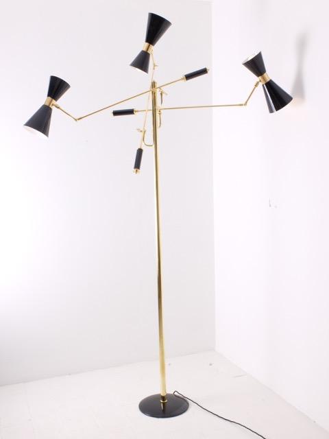 ARREDOLUCE  - Vers 1965  Lampadaire à 3 cache ampoules