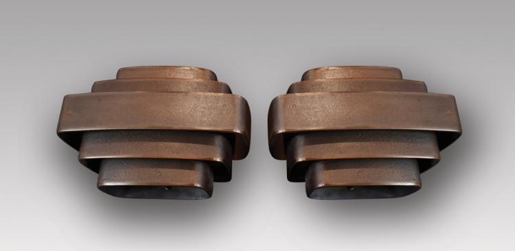 Jules WABBES (1919-1974)  Paire d'appliques en bronze