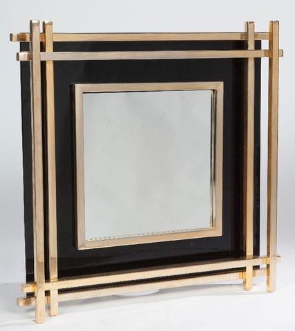 Romeo REGA (XX-XXI) - vers 1970  Miroir en métal doré et laqué noir