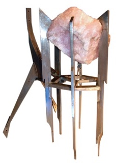 Marcel ARNOULD (1928-1974), vers 1970 Importante sculpture en acier découpé et soudé et quartz