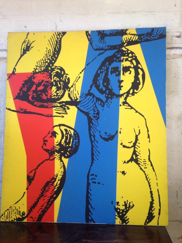 Jean-Marie HAESSLE (1939)  Femmes sur fond géométrique rouge jaune et bleu