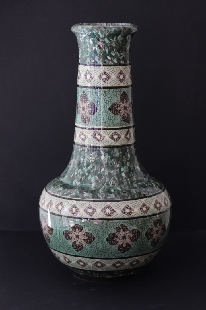GERBINO Grand vase en terres mêlées de couleur verte