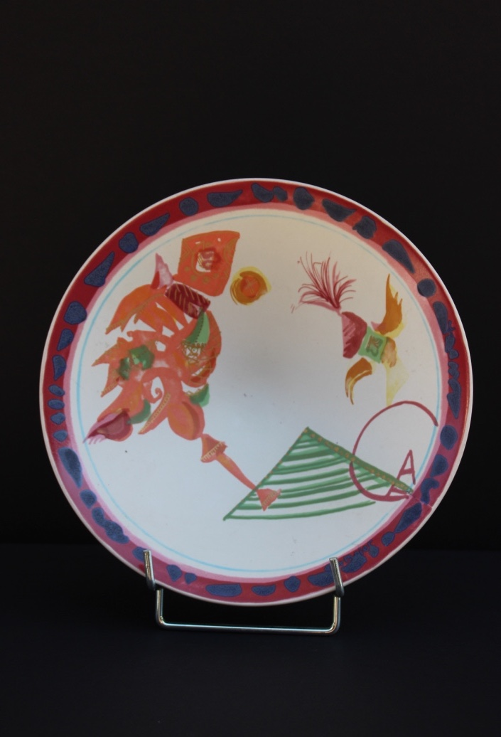 Gilbert PORTANIER (1926) - ROSENTHAL  Coupe à décors abstraits et colorés sur fond blanc.