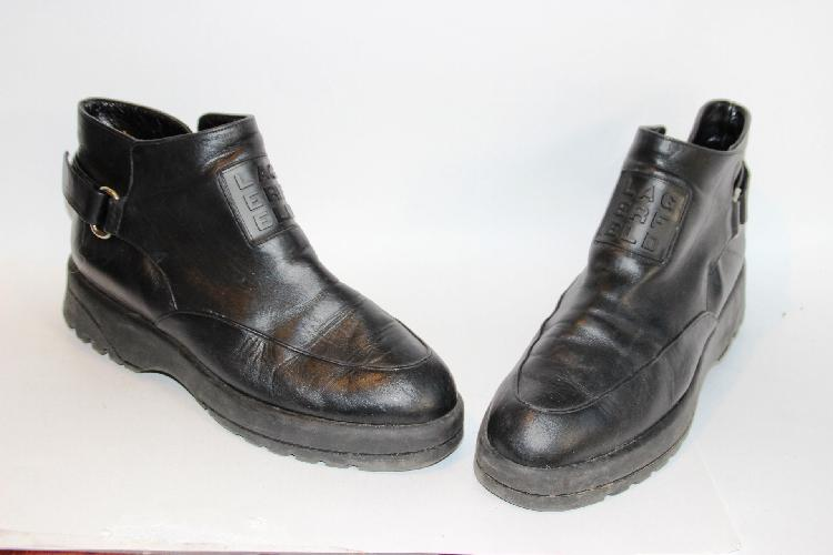LAGERFELD Paire de bottines plates en cuir noir, taille 39/40 Etat d'usage