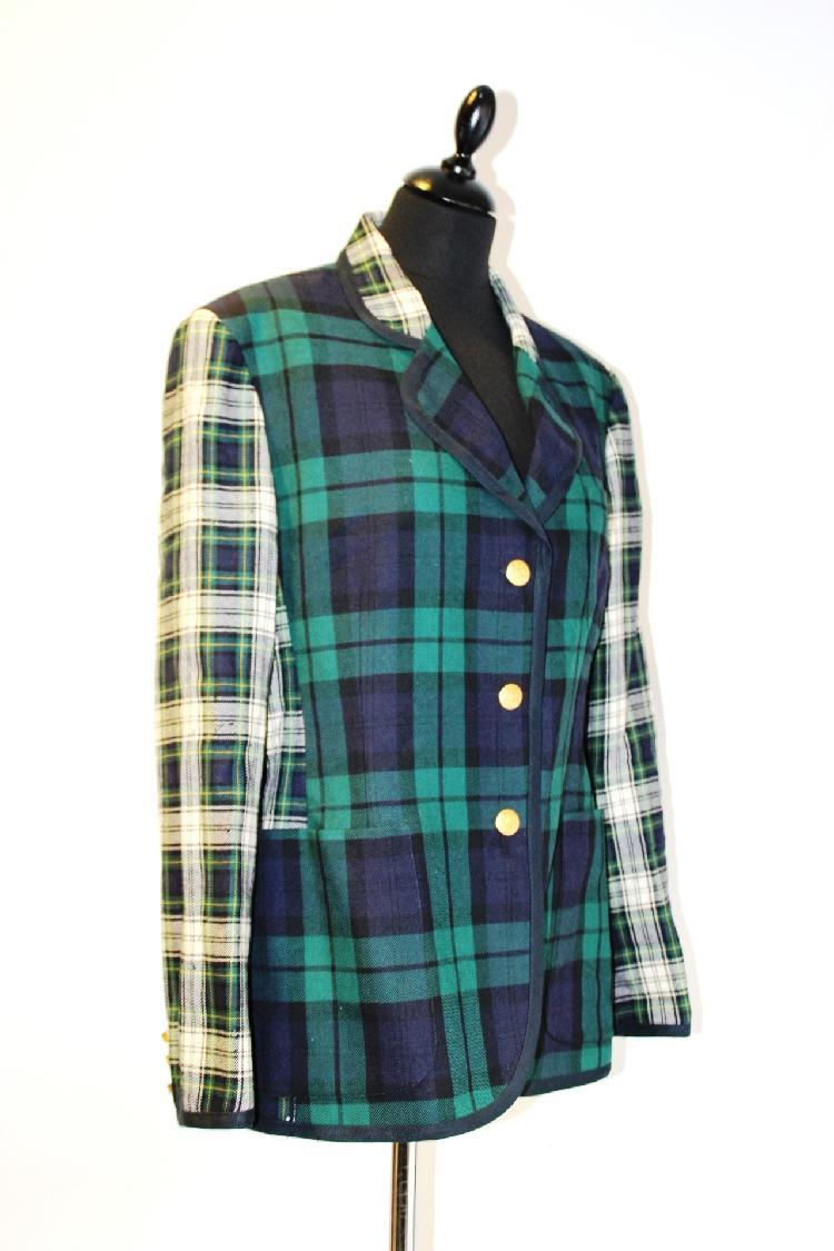 TRUSSARDI JEANS Blazer en laine bleu marine et écossais, trois boutons dorès , taille 42 Bon état