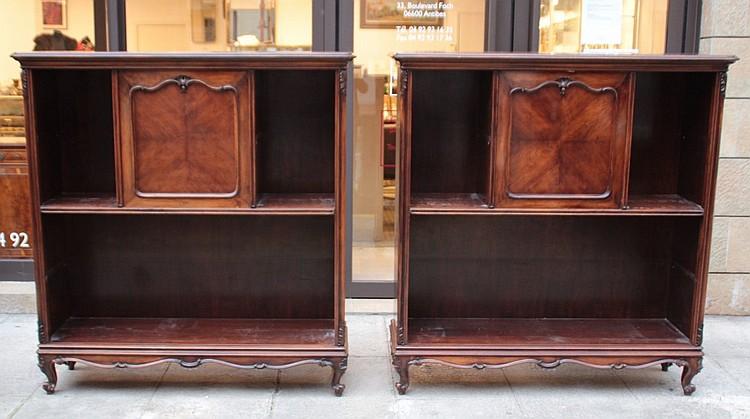 paire de deux meubles formant etagere et bar en bois de plac. Black Bedroom Furniture Sets. Home Design Ideas