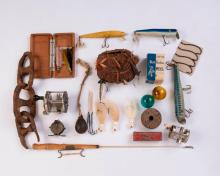 Collection of Vintage Fishing Lures, Reels and Accessories.
