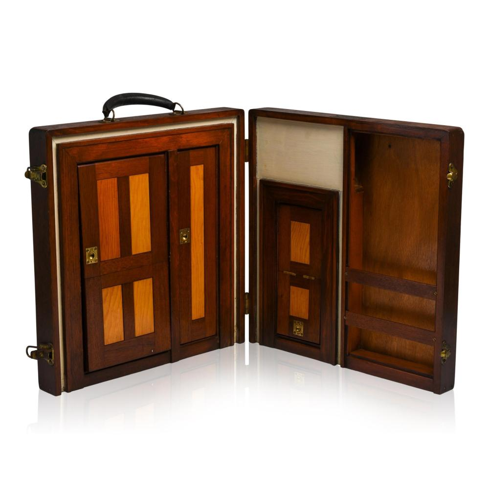 Salesman's Sample Briefcase of In-wall Furniture.