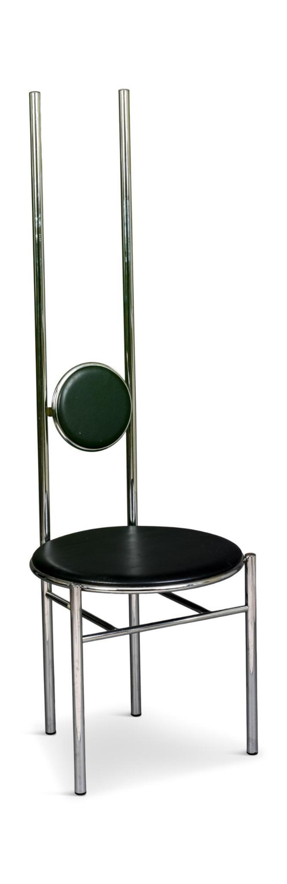 Tall Modern Chrome Side Chair.
