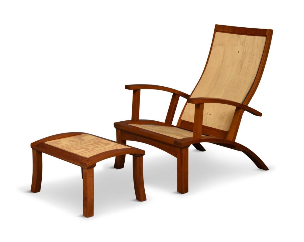 Thomas Moser Lolling Chair and Ottoman Pieces.