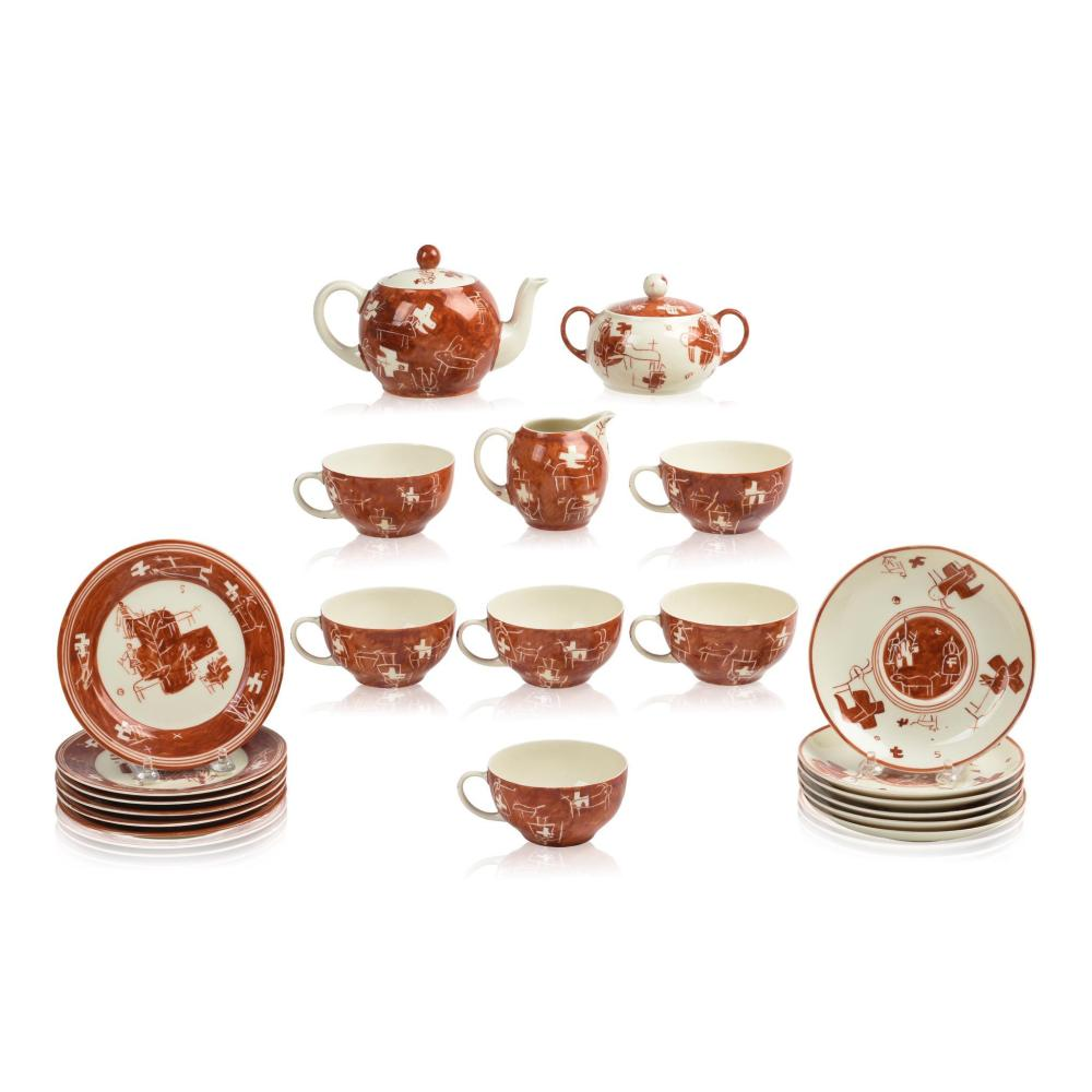 Rare 21 Piece Estonian Modernist Porcelain Tea Set