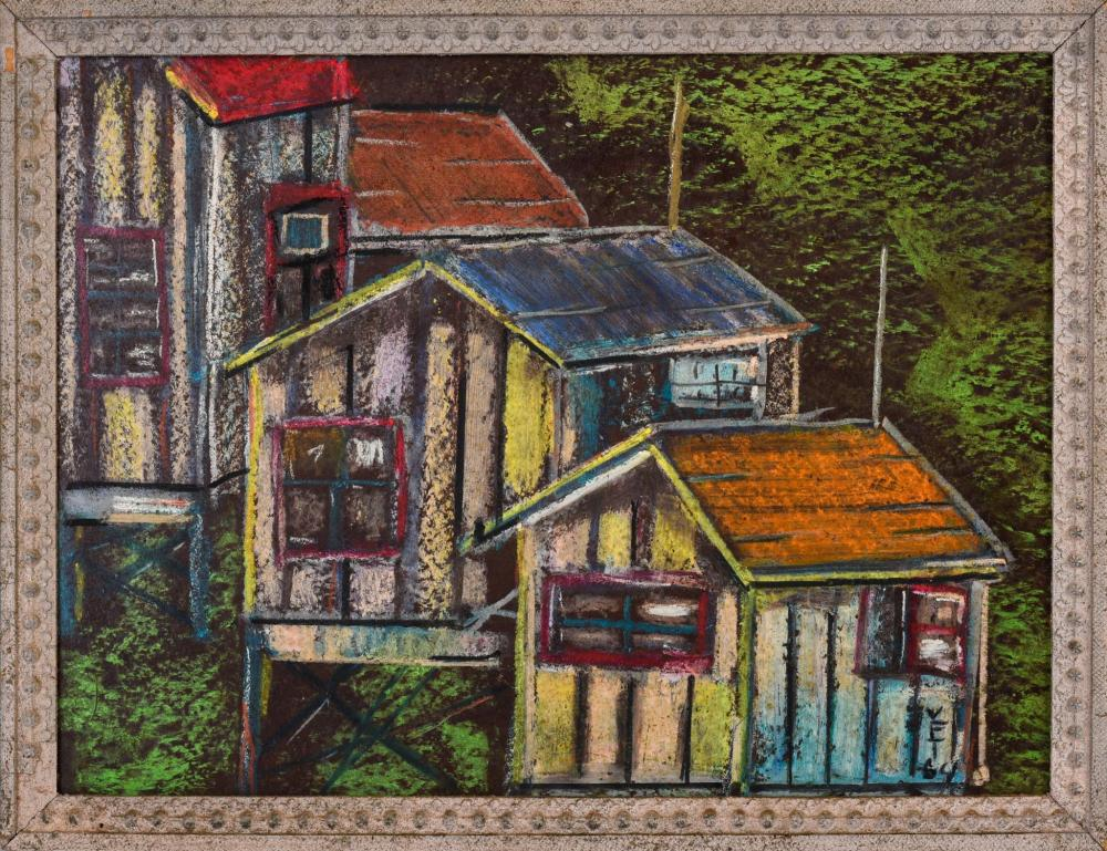 Pastel Illustration of Colorful Houses.