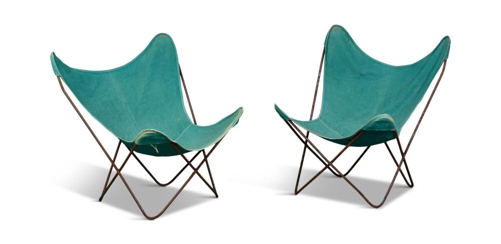 Pair of Butterfly Chairs With Green Canvas Seats.