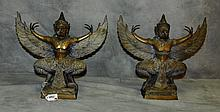 Pair antique bronze Garruda statues. H:13