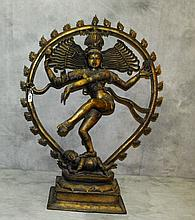Large antique bronze dancing Shiva. H:37