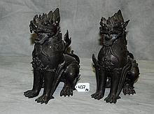 Pair bronze Burmese figural foo lions. H:10