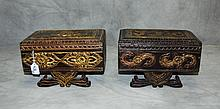 2 Cambodian carved wood covered boxes. H:7.25