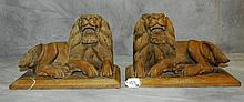 Pair Burmise carved wood lions. H:9