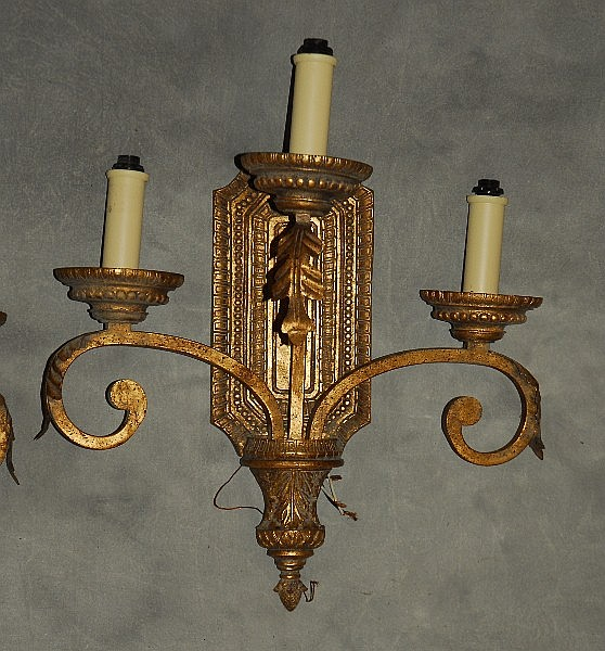Wall Sconces With Branches : Pair of gilt three branch wall sconces. H:20