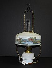 19th C hand painted and artist signed glass chandelier.
