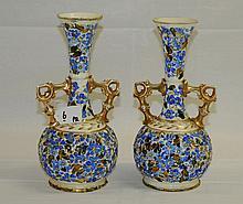 Pair of Hungarian porcelain vases. H:10.75