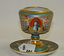 19th C hand painted vase and saucer. H:4.5
