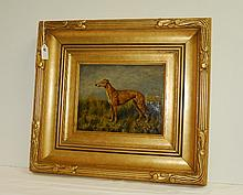 Oil on panel of dog in giltwood frame signed lower